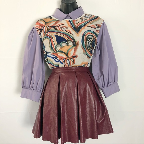 American Girl Dresses & Skirts - Plum American Girl Pleated Leather Mini Skirt